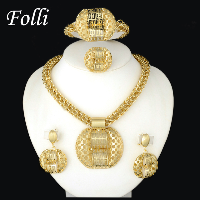 2016 Latest Fashion African Jewelry Set Sparkling  Yellow Gold Filled Dubai Big Necklace Earrings Wedding Sets Gift For Women