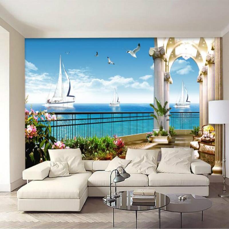 3d living modern background window wall balcony silk wallpapers improvement sea