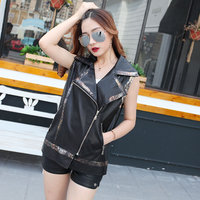 Spring new sleeveless leather PU leather vest women loose short coat trend clothing Q122