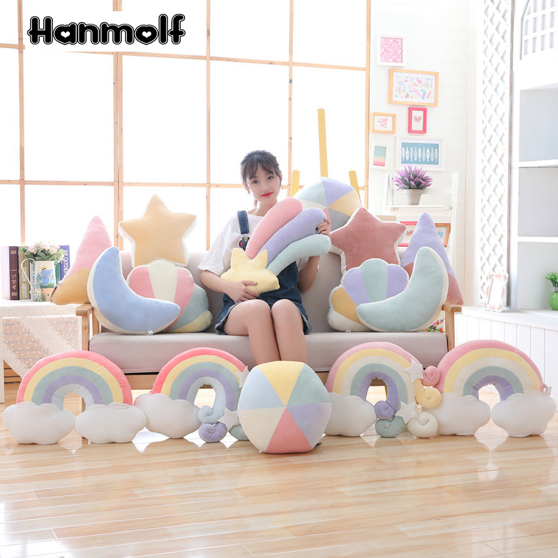 Плюшевая подушка с красочной луной, звездой, счастливым облаком, радугой, раковиной, горным мячом, съемкой, звездой, натуральным наполнителем, декор для дивана и стула|Плюшевые подушки|   | АлиЭкспресс