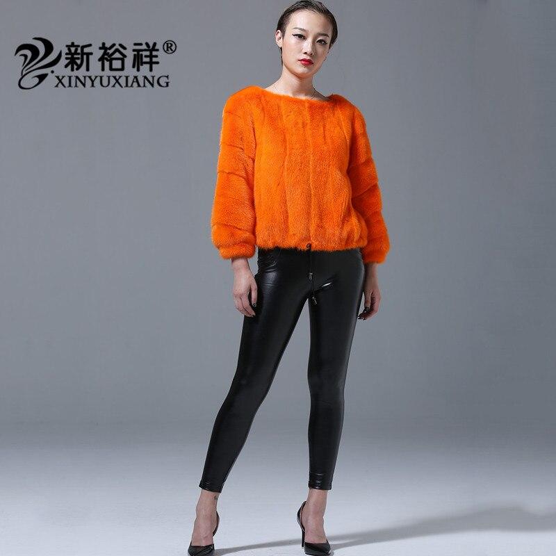 2018 Vestes Cordon Noir Orange Casual O De Pelt 219c Orange Jaune jaune Manteaux Naturel Femmes blanc Cou Fourrure Pleine Pour Vison Ourlet Nouveau gaZw7gqxr