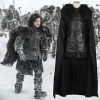 Game Of Thrones Kostuum Jon Sneeuw Kostuum Outfit Met Jas Halloween Kleding Ault Mannen Cosplay Kostuum Volledige Set Party dress