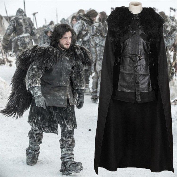 Game of Thrones Costume Jon Snow Costume Vestito Con Il Cappotto Vestiti di Halloween Ault Uomini Cosplay Costume Set Completo vestito da Partito