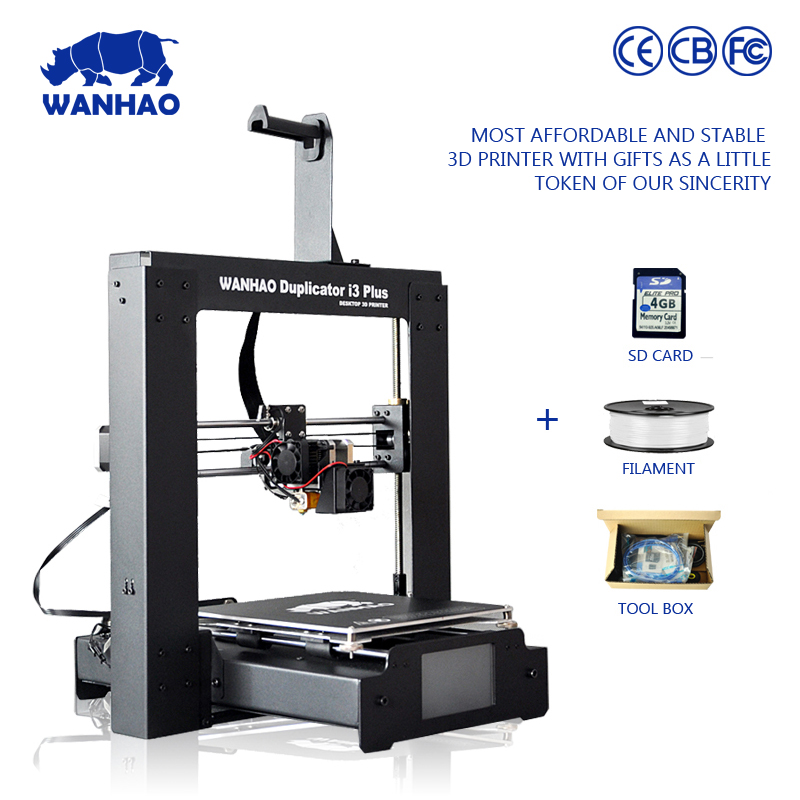 2016 new style WANHAO I3 PLUS with aluminum heated new version desktop metal 3d printer with