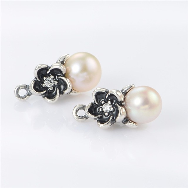 High quality 925 Sterling Silver Stud Earring Noble Black Flower With White Pearl Earrings Jewelry Fit Charm Women Free Shipping
