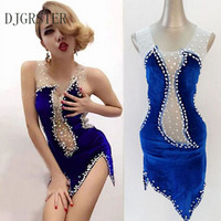 DJGRSTER 2018 Navy Jazz dance Stage costumes for singers Hip hop dance costume Sexy Fashion Stage wear Stage dress for singers