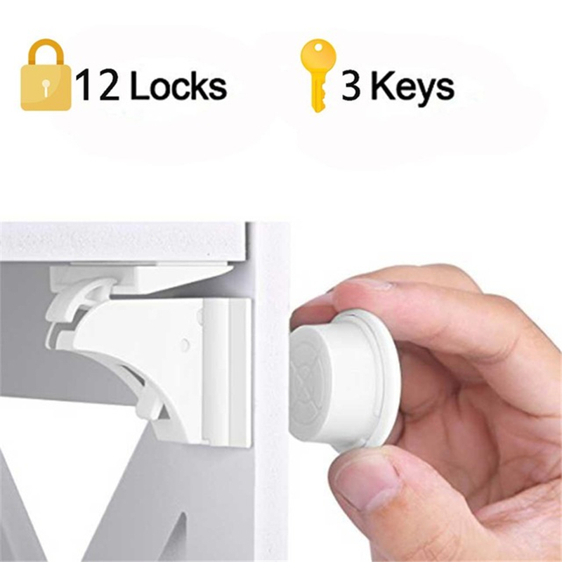 12+3 Pcs Magnetic Child Lock Baby Safety Baby Protection Cabinet Door Lock Kids Drawer Locker Security Invisible Security Locks