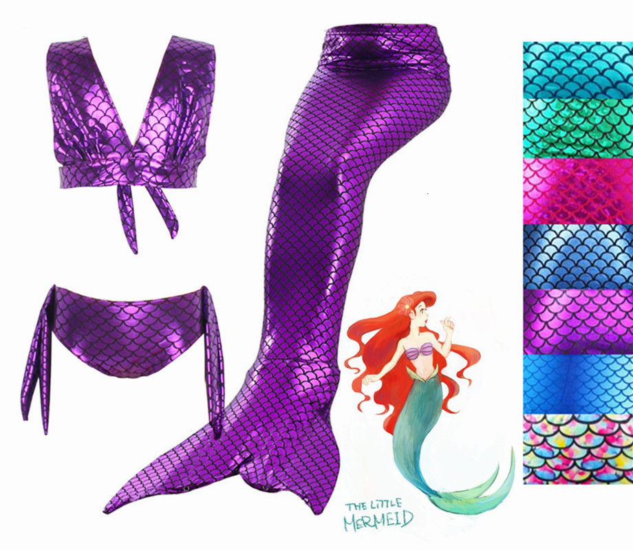 3PCS Fancy Kids Girls Mermaid Tail Bikini Suit Children Mermaid Tail Costome Swimmable Bikini Set Bathing Swimsuit Cosplay