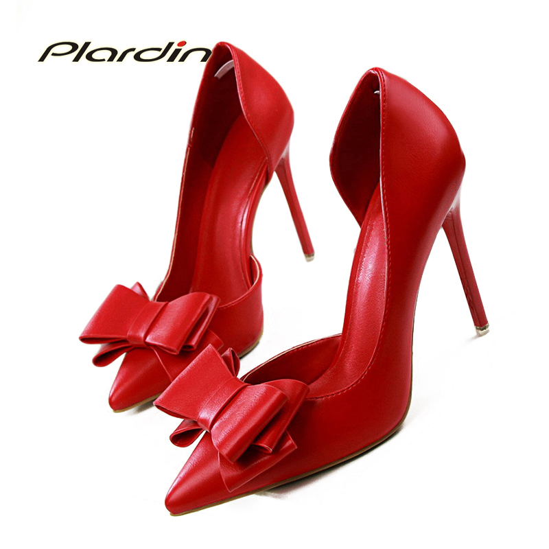 2018  Shoes Woman Fashion Sweet Bowtie Pointed Toe Sexy Women Party Shallow Mouth Side Hollow Women Thin High Heel Shoes fashion female shallow mouth high heels pointed toe single shoes sexy hollow stilettos women concise party thin pumps 6 colors