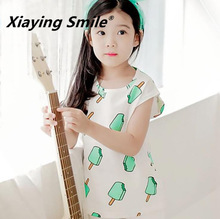Baby Clothing Spring Children O-Neck Short Sleeve T-Shirt Kid Clothes Fashion Casual Ice Cream Printing