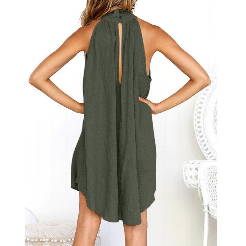 Lossky, женское платье, летнее, повседневное, льняная одежда, для девушек, свободные, без рукавов, белые платья до колен, Vestido;платье водолазка;пл...
