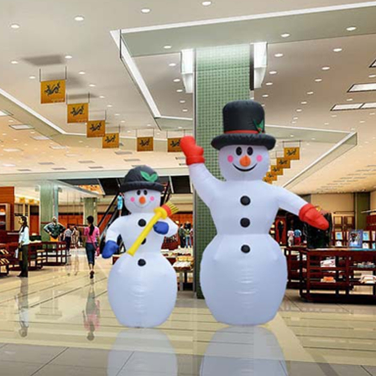 EU plug 180/240CM Giant Inflatable Snowman Christmas Party Props Air Blower Hotels New Year Holiday Lighting LED Light Decor x085 hot sell giant 4 m christmas inflatable snowman for christmas decoration with air blower