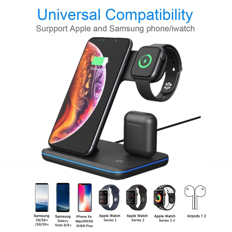 Tongdaytech 15W Qi Wireless Charger For Iphone XS 8 11 Pro Max Fast Phone Charger Dock Station For Apple Airpods Watch 5 4 3 2 1