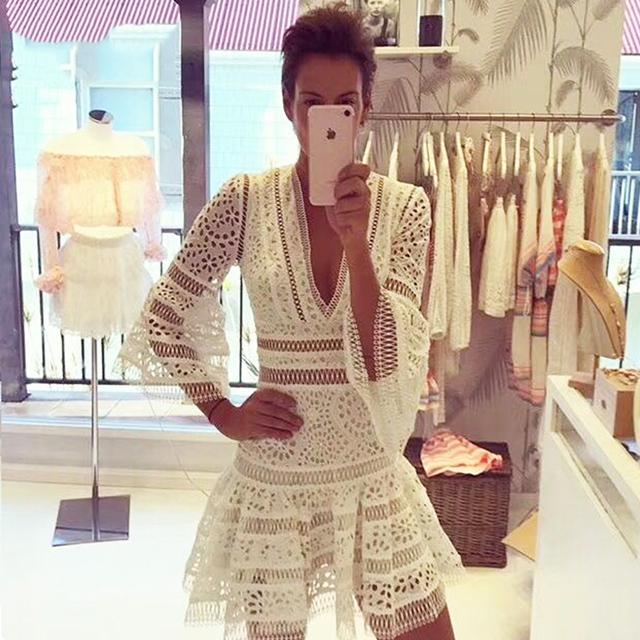 Sexy A Line Women Dress V Neck Chic Celebrity Party White Dresses New Summer Vestidos Hollow Out Lace Runway Dress