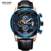 Megir Leather Strap Leisure Sports Quartz Watches Men Chronograph Wristwatch for Man Relogios Masculino Army Military