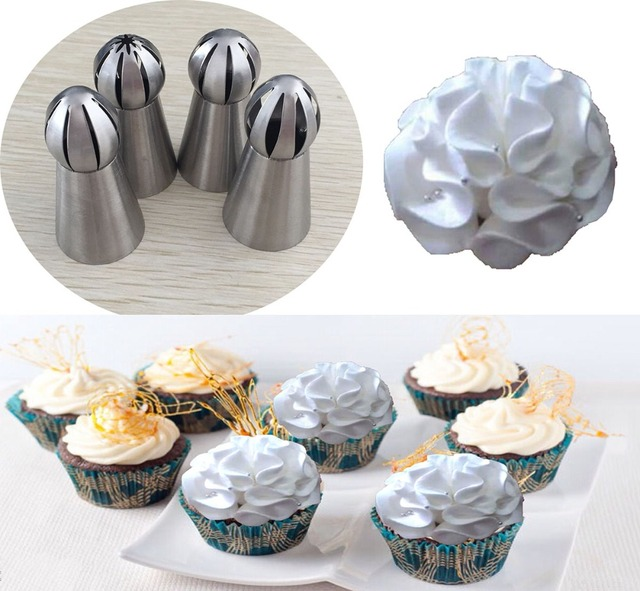 4pcs stainless steel russian ball nozzles flower fondant icing piping tips cream torch pastry tube cake