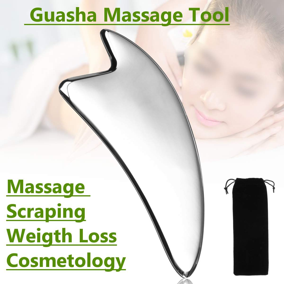 Black Bian Stone Massage Gua Sha Plate Tool Natural Health Scrape Fad IT