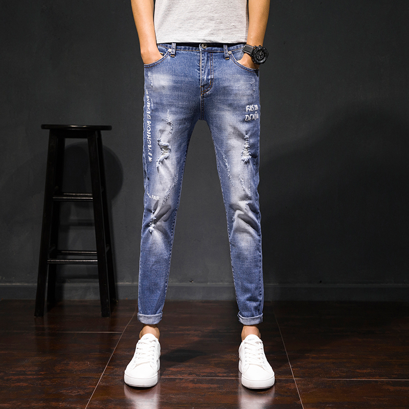 2018 Spring New Korean Style Mens Fashion Casual Solid Color Holes Male Pants Tide Bound Feet Ankle-length Jeans Trousers 27-36