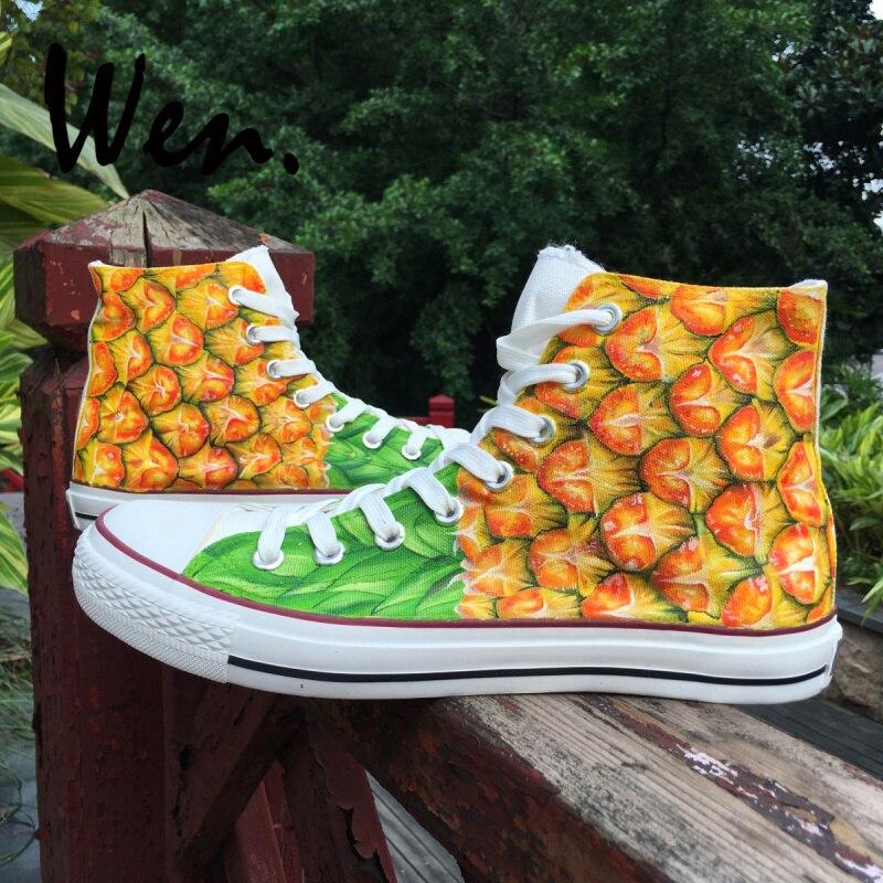 Wen toile chaussures de sport haut ananas fruits tropicaux conception chaussures peintes à la main antidérapant femmes et hommes baskets