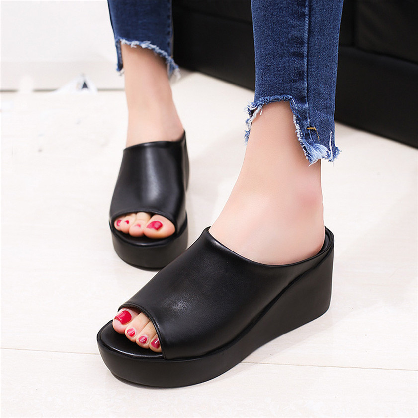 цена на Women Slippers Fashion Leisure Shoes Women Creepers Platform Fish Mouth Women Sandals Thick Bottom Wedge Shoes