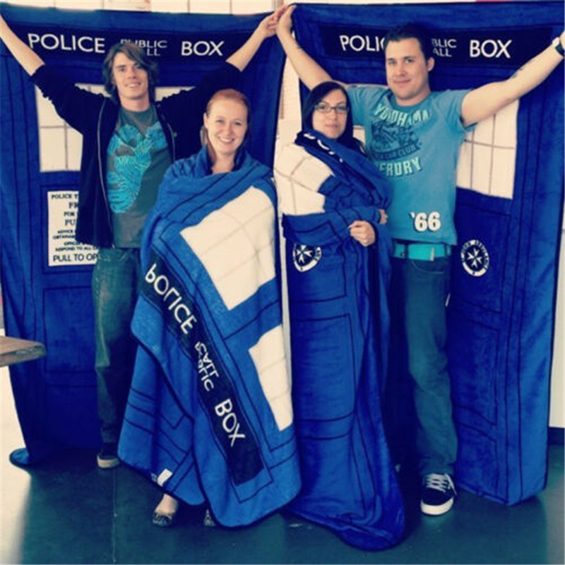 Candid 127x226cm Big Size Blue Doctor Who Dr Police Box Throw Blanket Coral Velvet Winter Warm Kids Bedroom Cosplay Sheet Gift