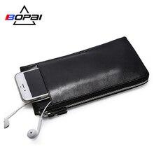 BOPAI Leather Wallets Black Thin Card Holder Wallet Zipper Genuine Leather Men Clutch Bags Multifunctional Mobile Wallet Case