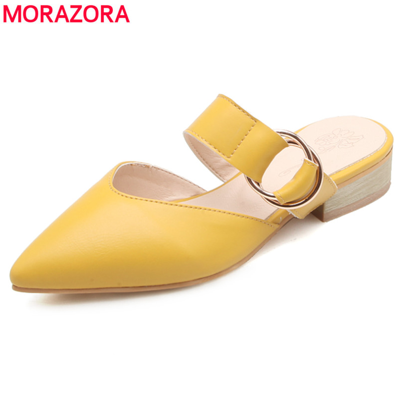 MORAZORA Plus size 34-44 new arrive women sandals pointed toe with buckle square heel women's mules sweet ladies dress shoes sweet plus size scoop neck flounce sleeves chiffon blouse for women