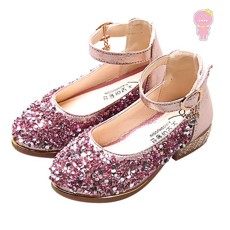 Spring Summer girls party shoes kids princess shoes children fashion shoes baby flat shoes faux crystal buckle 2 to 12 yrs