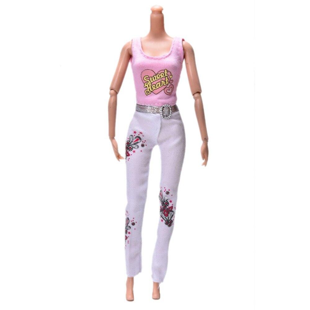 "MYPANDA Doll Tank Trousers Sets New Summer Yellow Vest + White Pants For 11"" Dolls Clothing 1set=1 tank+ 1 Pants 2Pcs/set"