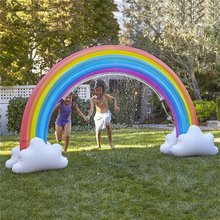 Ginormous Rainbow Cloud Yard Sprinkler 238cm Giant Inflatable Archway Lawn Beach Outdoor Toys For Child Adult Baby Games Center entrance decoration inflatable flower archway