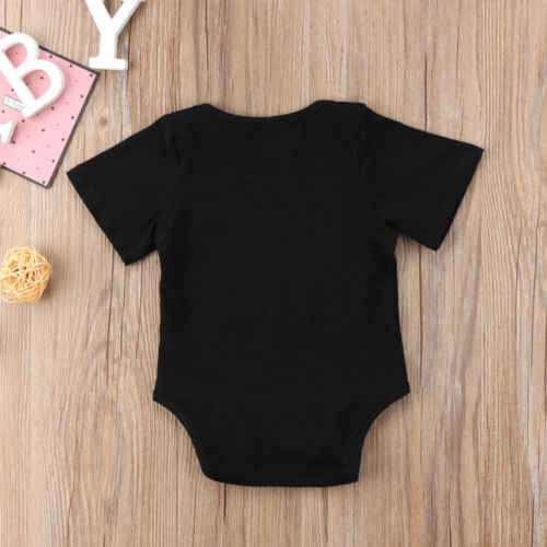 2018 Новая мода новорожденных для маленьких мальчиков девочек Письмо печати боди черное из хлопка забавная повседневная одежда