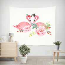 купить Nordic Flamingo Tapestry Bird Wall hanging Tapestries Floral Home Decor Beach Towel Yoga Mat Picnic Blanket Table Cloth дешево