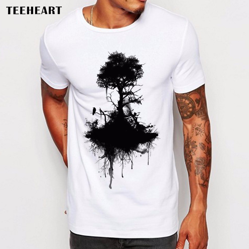 2017 men 39 s wild ink tree and crow t shirt summer high for High quality custom shirts