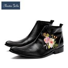 Christia Bella Moda Inverno Sapatos de Couro Genuíno Dos Homens Apontou Botas Dedo Do Pé da Cópia Floral Vestido Bordado Moda Mens Botas