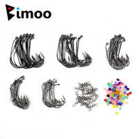 1Box 100 Worm hook + 20pcs Bait Pin Spring + 100 Beads Worm Jig Hooks With Inline Hook Ring / eye