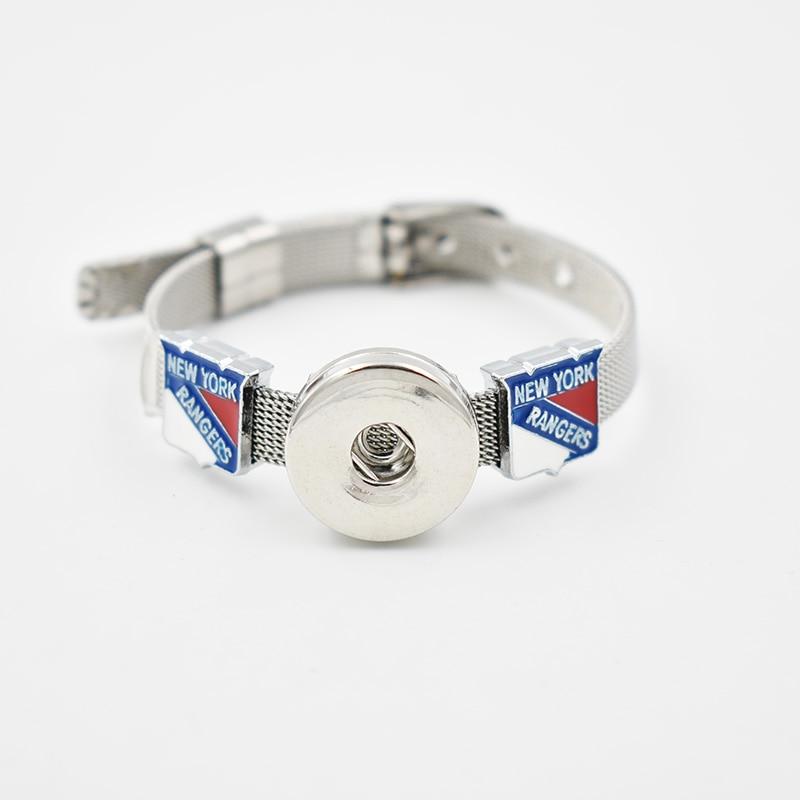 New York Rangers Slide Charms 2017 With Enamel Bracelet 8MM Net 18MM Snap Button Bracelet(Stainless Steel Bracelet)