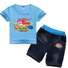 2 8Y 2019 קיץ בנות בגדי סט ילדים סופר כנפי פעוט סט בגדי בנים קצר שרוול חולצה ג ינס ג ינס 2pcs סט חליפות