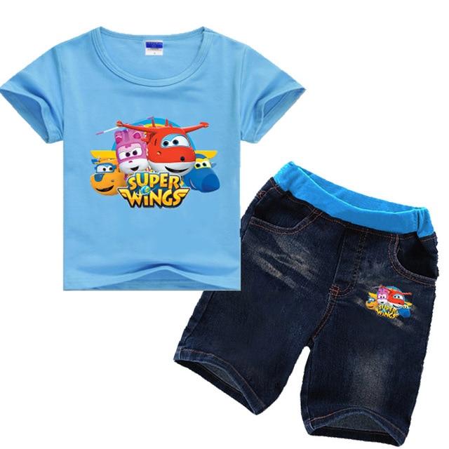 Ensemble de vêtements dété en denim, manches courtes, pour filles de 2 8 ans, ensemble de Jeans en Super ailes, pour enfants, pour garçons de 2 8 ans, 2019