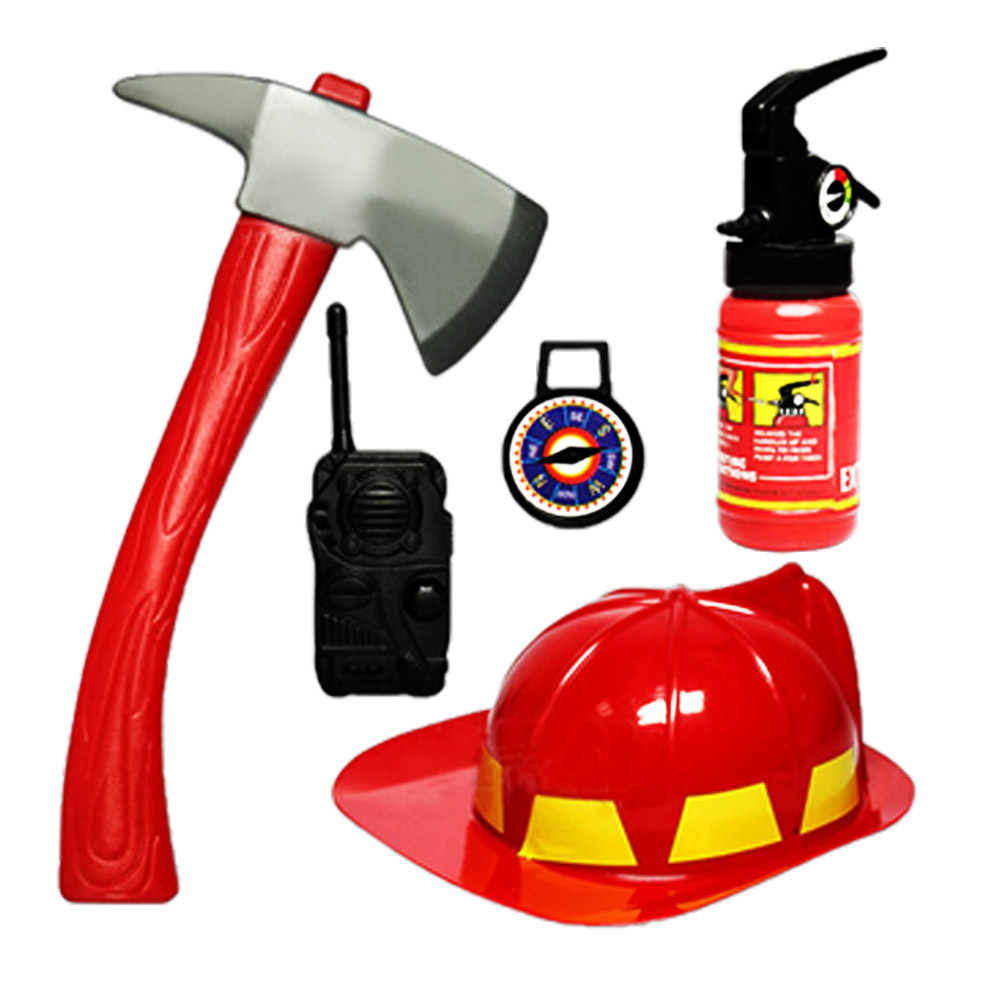 5 PCS Kids Fireman Costume Firefighter Role Play Set Helmet Extinguisher Hat Axe Crowbar Fire Extinguisher Accessories Toys
