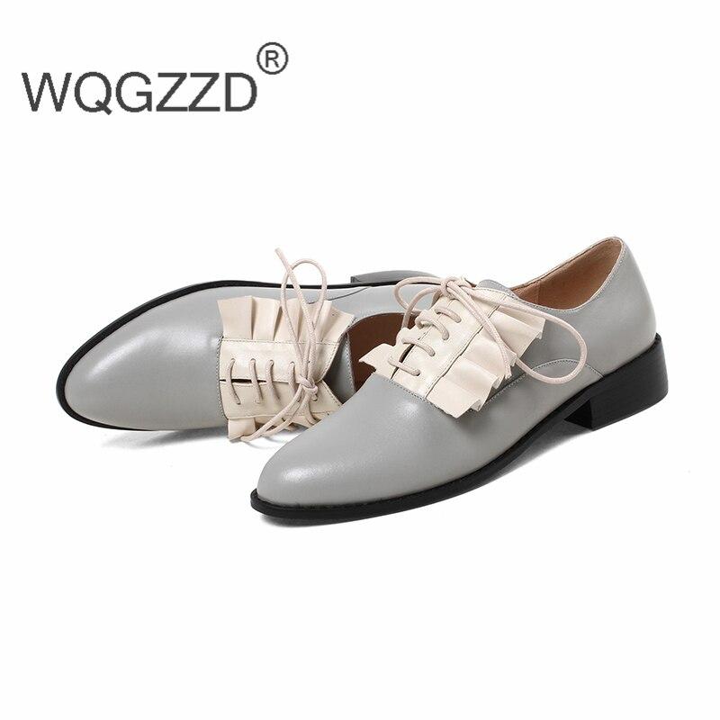 Femme Mocassins Femmes Plat Lace Vache Richelieu Up gray Cuir Marque Mixte Chaussures Black En Zapatos De Luxe Couleur Oxford OqInEHpZxw