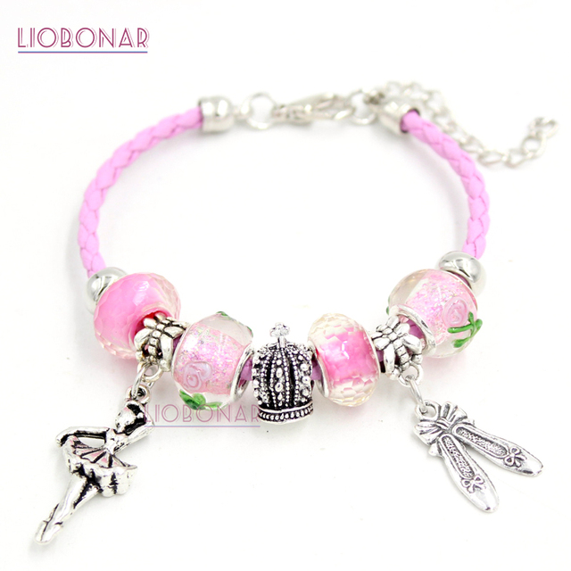 10pcs Whole Pink Lampwork Murano Gl Bead Crown Ballet Shoes Ballerina Charm Bracelets Women Jewelry Gift