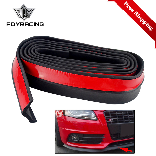 2.5m 65mm Width Car Protectors Front Bumper Lip Splitter Car Sticker Body Kits Spoiler Bumpers Valance Chin Car Rubber Strip