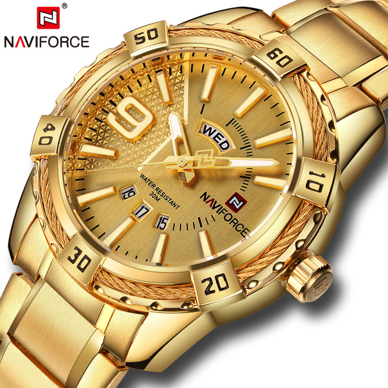 Luxury Brand NAVIFORCE Men's Watch Fashion Sport Waterproof Clock Men's Quartz Watch Men's steel Watch Relogio Masculino+ gift