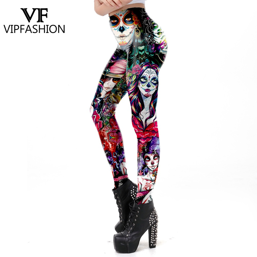 e08e2d6e9 Detail Feedback Questions about 2019 New Leggins The Dead Girl Scary Halloween  Sugar Skull Leggings For Women Girl Rose Print Fantastic Workout Party  Ankle ...