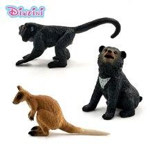 Artificial Little Bear Kangaroo Monkey Simulation animal model figure plastic Decoration educational toy figurine Gift For Kids