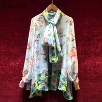 Svoryxiu 2018 Designer Brand Summer Loose Blouses Shirts Women's Vintage Print Vacation Style Blouses Tops + Scarves
