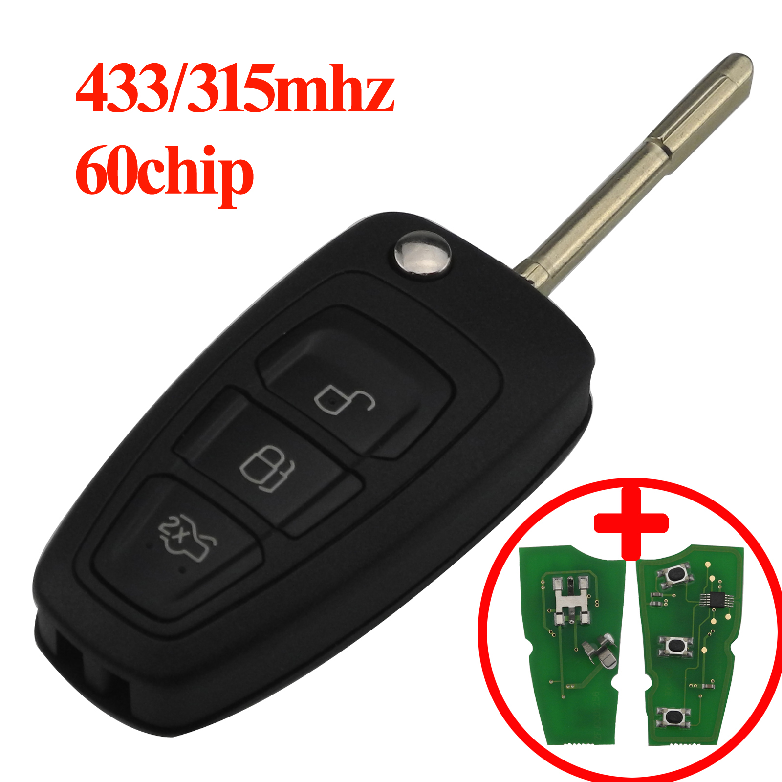 maizhi 433/315Mhz ID60 3 Butoons Floding Flip Car Key for Ford Focus Mondeo 1999 2000 2001 2002 20003 20004 20005 2006 2007