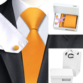 B-356 Мужские Галстук Оранжевый Твердый Шелковый Галстук Платок Запонки Коробка Подарка Мешок Наборы Галстуки Для Мужчин Бизнес Свадьба
