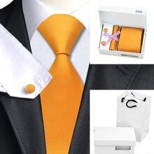 B-356 Mens Tie Orange Solid Silk Necktie Hanky Cufflinks Gift Box Bag Sets Ties For Men Business Wedding Party