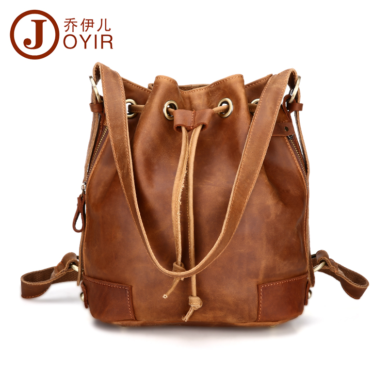Genuine leather Women Backpack Drawstring Bag Fashion Leather Bag Vintage Backpacks for Teenage Girls Fashion woman bag YOYIR women backpack fashion pvc faux leather turtle backpack leather bag women traveling antitheft backpack black white free shipping